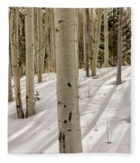 Aspens In Winter 2 Panorama - Santa Fe National Forest New Mexico Fleece Blanket