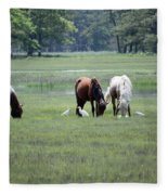 Assateague Island - Wild Ponies And Their Buddies  Fleece Blanket