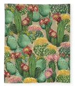 Assorted Blooming Cactus Plants Fleece Blanket