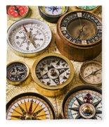 Assorted Compasses Fleece Blanket