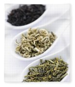 Assortment Of Dry Tea Leaves In Spoons Fleece Blanket