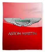 Aston Martin - 3 D Badge On Red Fleece Blanket