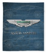 Aston Martin 3 D Badge Over Aston Martin D B 9 Blueprint Fleece Blanket