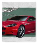 Aston Martin  D B S  V 12  With 3 D Badge  Fleece Blanket