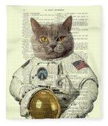 Astronaut Cat Illustration Fleece Blanket