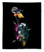 Astronaut Ufo Balloon Outer Space Shuttle  Fleece Blanket