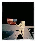 Astronaut With Us Flag On Moon Fleece Blanket