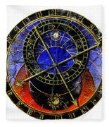 Astronomical Clock In Grunge Style Fleece Blanket