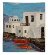 At Home In Greece Fleece Blanket