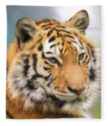 At The Center - Tiger Art Fleece Blanket
