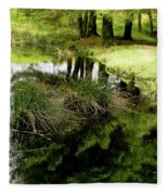 At The Edge Of The Forest Pond. Fleece Blanket