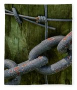 At The Fence Gate - Chain, Wire, And Post Fleece Blanket