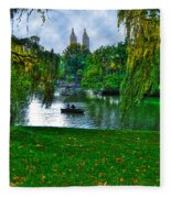 At The Lake In Central Park Fleece Blanket