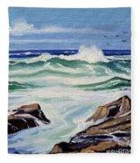 At The Ocean Fleece Blanket