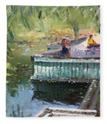 At The Park By The Water Fleece Blanket