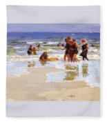 At The Seashore Edward Henry Potthast Fleece Blanket