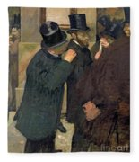 At The Stock Exchange Fleece Blanket by Edgar Degas
