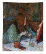 At The Toilet, Madame Poupoule Fleece Blanket