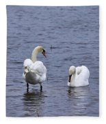 At Your Service. Mute Swan Fleece Blanket
