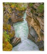 Athabasca River Canyon Fleece Blanket