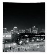 Atlanta Black And White Panorama Fleece Blanket