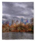 Atlanta City Skyline Georgia Usa Hdr Fleece Blanket