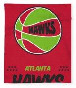 Atlanta Hawks Vintage Basketball Art Fleece Blanket