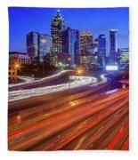 Atlanta Interstate I-85 By Night Fleece Blanket