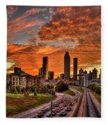 Atlanta Orange Clouds Sunset Capital Of The South Fleece Blanket