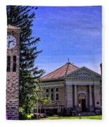 Atlanta Public Library And Clock Tower Fleece Blanket