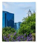 Atlanta Skyline From Atlanta Botanical Garden Fleece Blanket