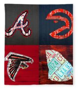 Atlanta Sports Fan Recycled Vintage Georgia License Plate Art Braves Hawks Falcons Plus State Map Fleece Blanket