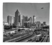 Atlanta Sunset Good Year Blimp Overhead Cityscape Art Fleece Blanket