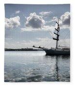 Atlantis - A Three Masts Vessel In Port Mahon Crystaline Water Fleece Blanket