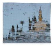 Atmospheric Hala Sultan Tekke Reflection At Larnaca Salt Lake Fleece Blanket