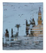 Atmospheric Hala Sultan Tekke Reflection At Larnaca Salt Lake Fleece Blanket