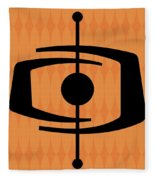 Atomic Shape 1 On Orange Fleece Blanket