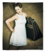 Attractive Young 1950s Woman Ready For Travel Tour Fleece Blanket