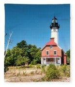 Au Sable Point Lighthouse Fleece Blanket