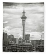 Auckland New Zealand Sky Tower Bw Texture Fleece Blanket
