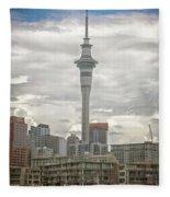 Auckland New Zealand Sky Tower Textured Fleece Blanket