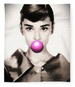 Audrey Hepburn Bubblegum Fleece Blanket