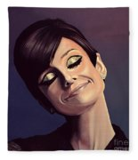 Audrey Hepburn Painting Fleece Blanket