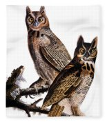Audubon: Owl, (1827-1838) Fleece Blanket