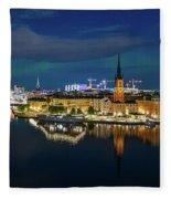 Aurora Over Stockholm In The Fall 2018 Fleece Blanket