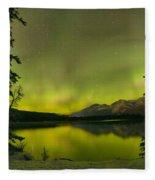 Aurora Over The Forest Fleece Blanket