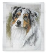 Aussie Shepherd Portrait Fleece Blanket