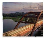 Austin 360 Bridge At Night Fleece Blanket