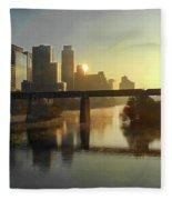 Austin Hike And Bike Trail - Pfluger Pedestrian Bridge - Fog Lifting Bright Panorama Fleece Blanket