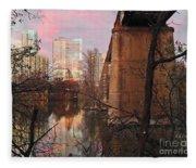 Austin Hike And Bike Trail - Train Trestle 1 Sunset Triptych Middle Fleece Blanket